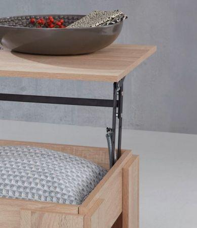 Couchtisch in Sonoma Eiche hell Wohnzimmertisch mit Ablage 107 x 60 cm Beistelltisch aufklappbar mit Esstischfunktion