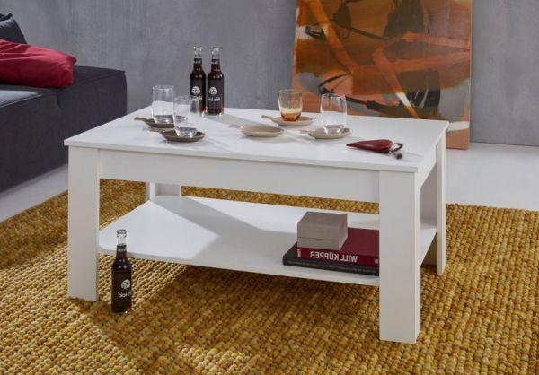Couchtisch in weiß Wohnzimmertisch mit Ablage 110 x 67 cm Beistelltisch
