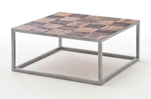 Couchtisch Binto in Mango massiv und Used Wood Wohnzimmertisch mit Metallgestell 80 x 80 cm quadratisch Shabby