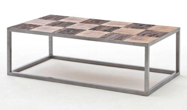 Couchtisch Binto in Mango massiv und Used Wood Wohnzimmertisch mit Metallgestell 110 x 60 cm rechteckig Shabby