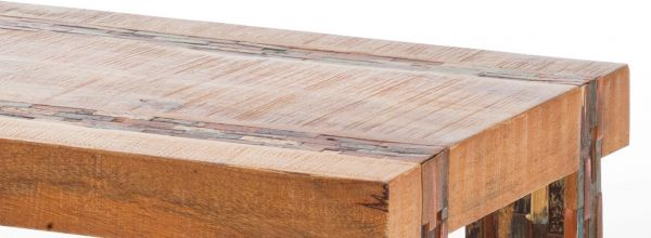 Couchtisch Calisto in Mango massiv Wohnzimmertisch recyceltes Holz in Mosaikoptik 110 x 60 cm