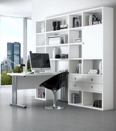 Bürowand Bücherwand mit integriertem Schreibtisch weiß Lack matt 245 x 222 cm - Lagerware