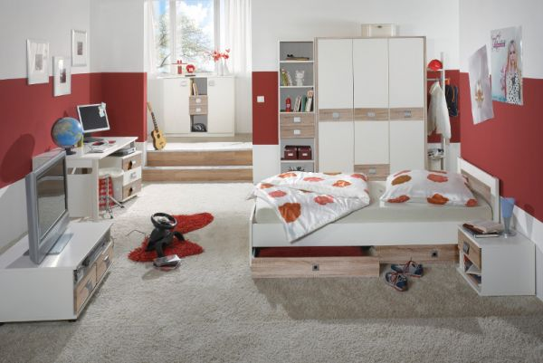Jugendzimmer Kinderzimmer weiß 6-teilig Juzi43 LAGERWARE