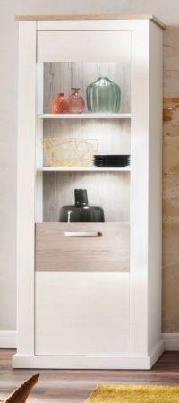 Vitrine Roma in Anderson Pinie Struktur weiß und Taupe Landhaus Vitrinenschrank 70 x 204 cm