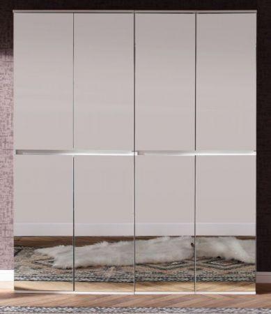 Garderobenschrank und Schuhschrank Mirror weiß mit Spiegeltüren Garderobe 148 x 191 cm Flurgarderobe