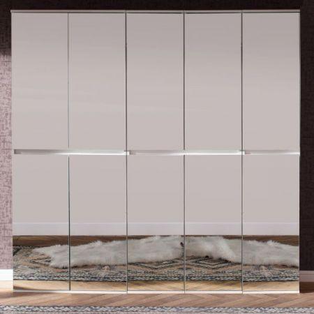 Garderobenschrank und Schuhschrank Mirror weiß mit Spiegeltüren Garderobe 185 x 191 cm Flurgarderobe