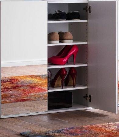 Garderobenschrank und Schuhschrank Mirror weiß mit Spiegeltüren Garderobe 74 x 191 cm Flurgarderobe