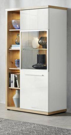 Vitrine Odino in Hochglanz weiß und Asteiche / Eiche Vitrinenschrank 84 x 167 cm inkl. LED Beleuchtung Highboard