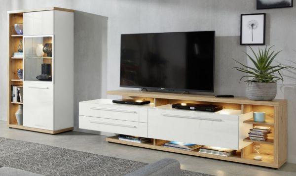 Vitrine Odino in weiß Hochglanz und Asteiche / Eiche Vitrinenschrank 84 x 167 cm inkl. LED Beleuchtung
