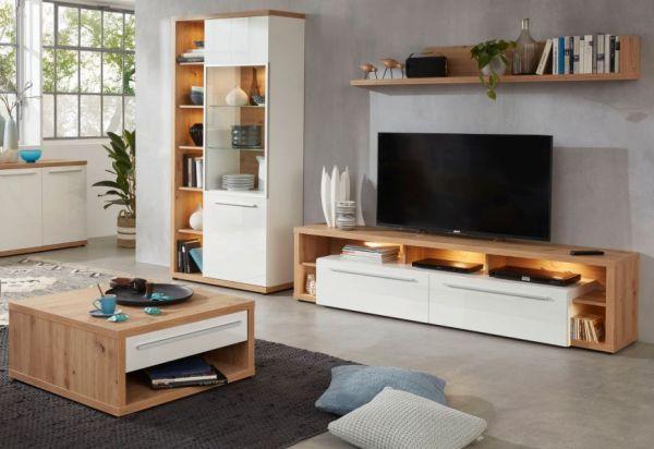 Couchtisch Odino in Hochglanz weiß und Asteiche / Eiche Wohnzimmertisch 80 x 80 cm mit Ablage und Schubkasten