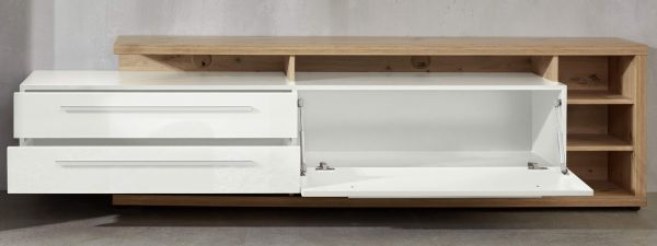 TV-Lowboard Odino in Hochglanz weiß und Asteiche / Eiche Fernsehtisch 210 x 62 cm mit Komforthöhe