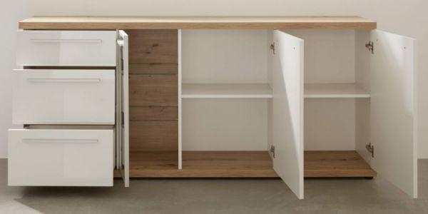 Sideboard Odino in Hochglanz weiß und Asteiche / Eiche Anrichte 182 x 87 cm Kommode
