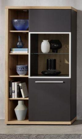 Vitrine Odino in matt grau und Asteiche / Eiche Vitrinenschrank 84 x 167 cm inkl. LED Beleuchtung Highboard