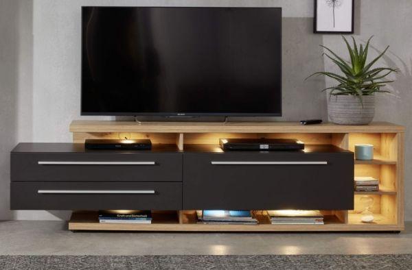 TV-Lowboard Odino in matt grau und Asteiche / Eiche Fernsehtisch 210 x 62 cm TV-Unterteil