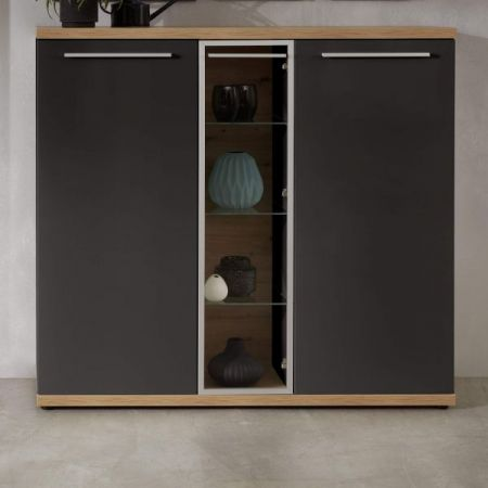 Highboard Odino in matt grau und Asteiche / Eiche Anrichte 140 x 135 cm Kommode