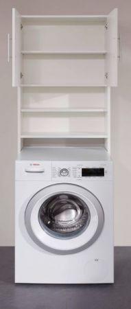 Waschmaschinenschrank Basix in weiß Badmöbel 64 x 190 cm Waschmaschinenüberbau