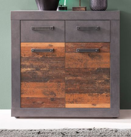 Kommode Indy in Used Wood Shabby mit Matera grau Sideboard 82 x 86 cm