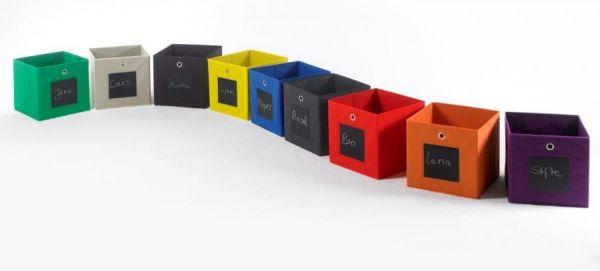 Faltbox mit Tafel in anthrazit 3er Set Aufbewahrungsbox Stoffbox 32 x 32 cm Klappbox Sammelbox