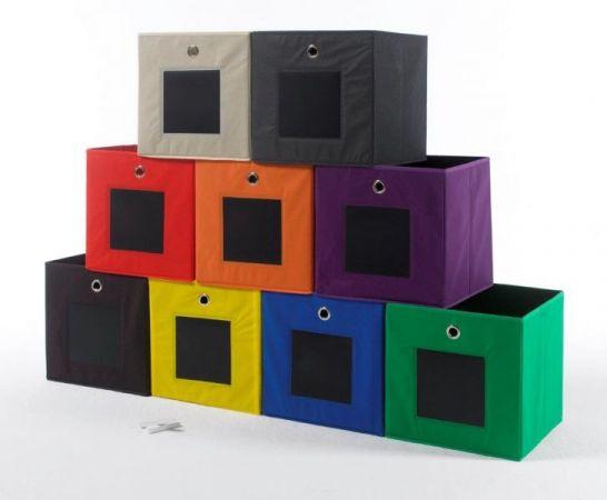 Faltbox mit Tafel in natur / beige 3er Set Aufbewahrungsbox Stoffbox 32 x 32 cm Klappbox Sammelbox