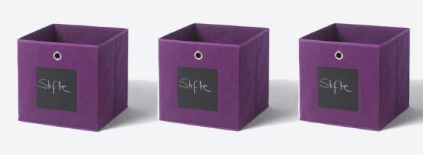 Faltbox mit Tafel in lila 3er Set Aufbewahrungsbox Stoffbox 32 x 32 cm Klappbox Sammelbox