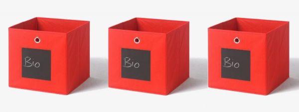 Faltbox mit Tafel in rot 3er Set Aufbewahrungsbox Stoffbox 32 x 32 cm Klappbox Sammelbox