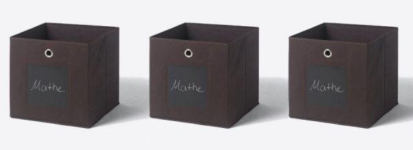 Faltbox mit Tafel in braun 3er Set Aufbewahrungsbox Stoffbox 32 x 32 cm Klappbox Sammelbox