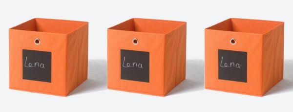 Faltbox mit Tafel in orange 3er Set Aufbewahrungsbox Stoffbox 32 x 32 cm Klappbox Sammelbox