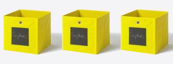 Faltbox mit Tafel in gelb 3er Set Aufbewahrungsbox Stoffbox 32 x 32 cm Klappbox Sammelbox
