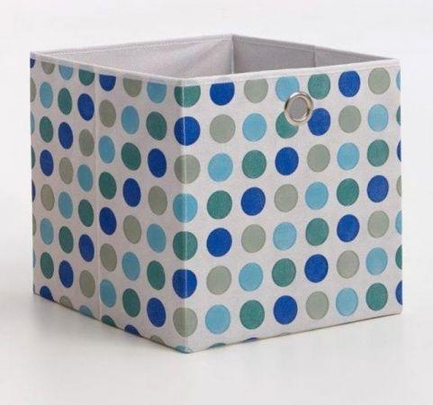 Faltbox mit Punkten in blau Aufbewahrungsbox Stoffbox 32 x 32 cm Klappbox Sammelbox