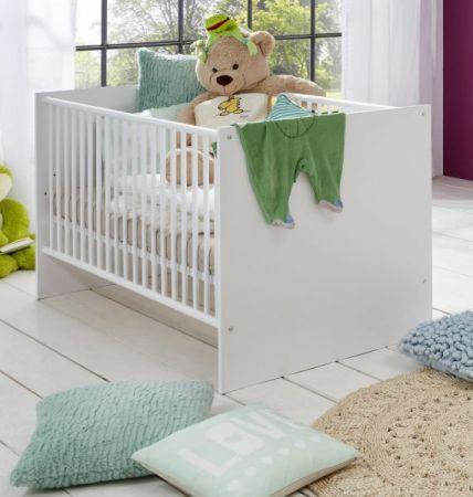 Babyzimmer Babybett Clever in weiß Gitterbett mit Schlupfsprossen und Lattenrost Liegefläche 70 x 140 cm