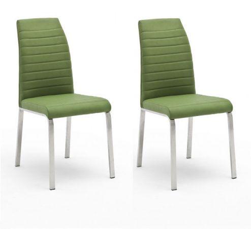 2 x Stuhl Flores in Kiwi Kunstleder und Edelstahl 4-Fuß Esszimmerstuhl 2er Set