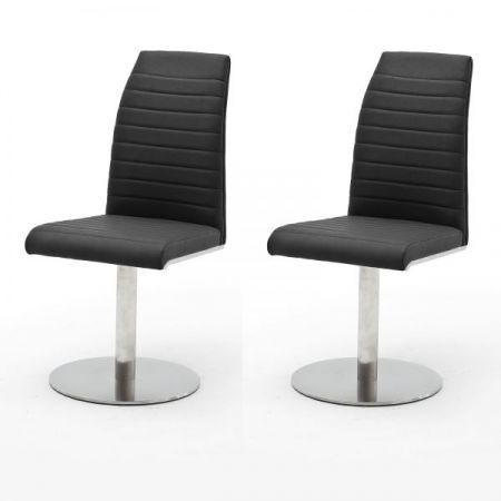 2 x Stuhl Flores in Anthrazit Kunstleder und Edelstahl Tellerfuß 360° drehbar Esszimmerstuhl 2er Set Drehstuhl