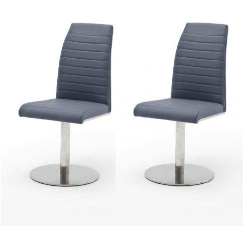 2 x Stuhl Flores in Graublau Kunstleder und Edelstahl Tellerfuß 360° drehbar Esszimmerstuhl 2er Set Drehstuhl