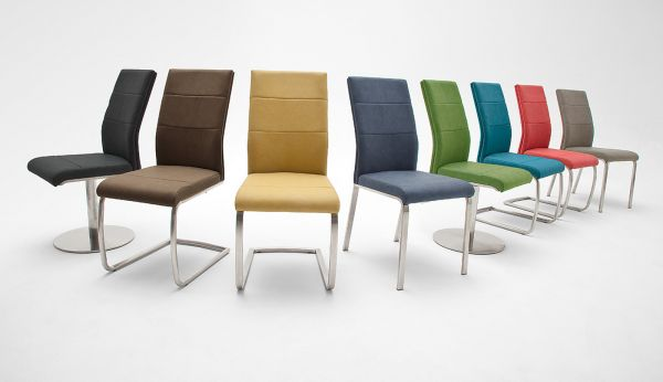 2 x Stuhl Flores in Anthrazit Kunstleder und Edelstahl 4-Fuß Esszimmerstuhl 2er Set