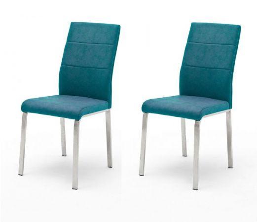 2 x Stuhl Flores in Petrol Kunstleder und Edelstahl 4-Fuß Esszimmerstuhl 2er Set