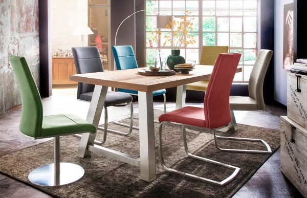 2 x Stuhl Flores in Curry Kunstleder und Edelstahl Freischwinger Flachrohr Esszimmerstuhl 2er Set