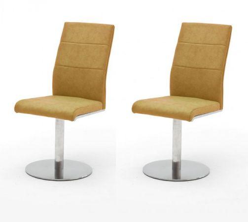 2 x Stuhl Flores in Curry Kunstleder und Edelstahl Tellerfuß 360° drehbar Esszimmerstuhl 2er Set Drehstuhl