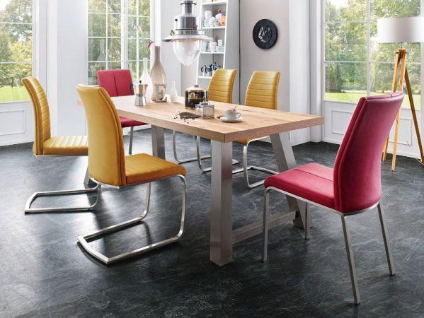 2 x Stuhl Flores in Curry Kunstleder und Edelstahl 4-Fuß Esszimmerstuhl 2er Set