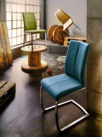 2 x Stuhl Flores in Graublau Kunstleder und Edelstahl 4-Fuß Esszimmerstuhl 2er Set