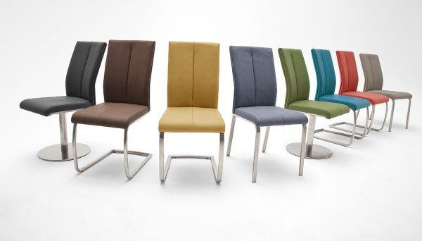 2 x Stuhl Flores in Graublau Kunstleder und Edelstahl Freischwinger Rundrohr Esszimmerstuhl 2er Set