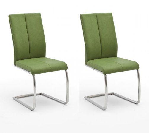 2 x Stuhl Flores in Kiwi Kunstleder und Edelstahl Freischwinger Rundrohr Esszimmerstuhl 2er Set