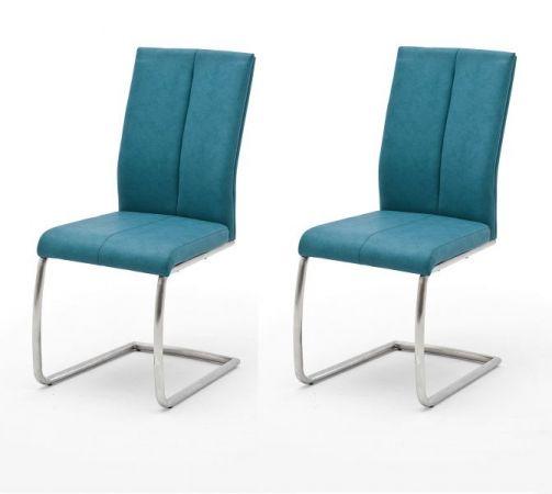 2 x Stuhl Flores in Petrol Kunstleder und Edelstahl Freischwinger Rundrohr Esszimmerstuhl 2er Set