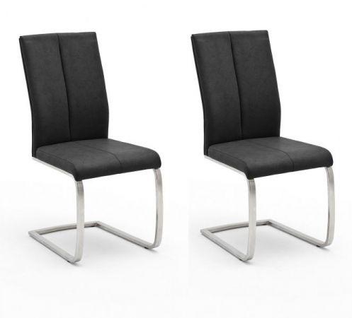 2 x Stuhl Flores in Anthrazit Kunstleder und Edelstahl Freischwinger Flachrohr Esszimmerstuhl 2er Set