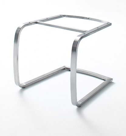2 x Stuhl Flores in Petrol Kunstleder und Edelstahl Freischwinger Flachrohr Esszimmerstuhl 2er Set