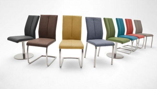 2 x Stuhl Flores in Rot Kunstleder und Edelstahl Freischwinger Flachrohr Esszimmerstuhl 2er Set
