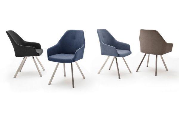 2 x Stuhl Madita in Anthrazit Kunstleder und Edelstahl 4-Fuß eckig Esszimmerstuhl 2er Set Armlehnenstuhl Schalenstuhl