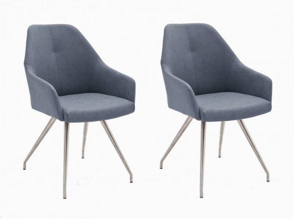 2 x Stuhl Madita in Graublau Kunstleder und Edelstahl 4-Fuß oval Esszimmerstuhl 2er Set Armlehnenstuhl Schalenstuhl