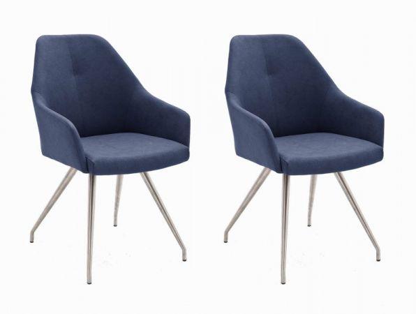 2 x Stuhl Madita in Nachtblau Kunstleder und Edelstahl 4-Fuß oval Esszimmerstuhl 2er Set Armlehnenstuhl Schalenstuhl