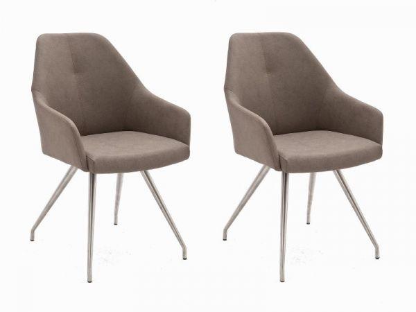 2 x Stuhl Madita in Taupe Kunstleder und Edelstahl 4-Fuß oval Esszimmerstuhl 2er Set Armlehnenstuhl Schalenstuhl