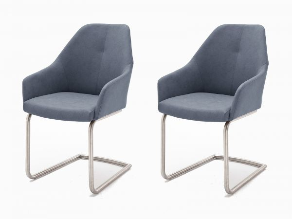 2 x Stuhl Madita in Graublau Kunstleder und Edelstahl Freischwinger Esszimmerstuhl 2er Set Armlehnenstuhl Schalenstuhl